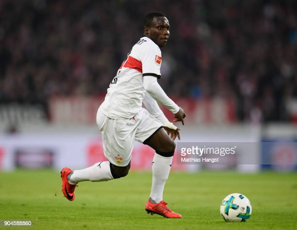 Chadrac Akolo of Stuttgart controls the ball during the Bundesliga match between VfB Stuttgart and Hertha BSC at MercedesBenz Arena on January 13...