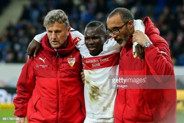 Chadrac Akolo of Stuttgart injured during the Bundesliga match between TSG 1899 Hoffenheim and VfB Stuttgart at Wirsol RheinNeckarArena on December...