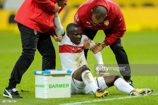 Chadrac Akolo of Stuttgart is injured on the ground during the Bundesliga match between TSG 1899 Hoffenheim and VfB Stuttgart at Wirsol...