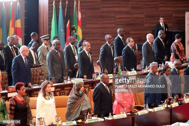 Chad's Moussa Faki Chairperson of the AU Commission Mauritania President Mohamed Ould Abdel Aziz Rwandan President and Chairperson of the African...