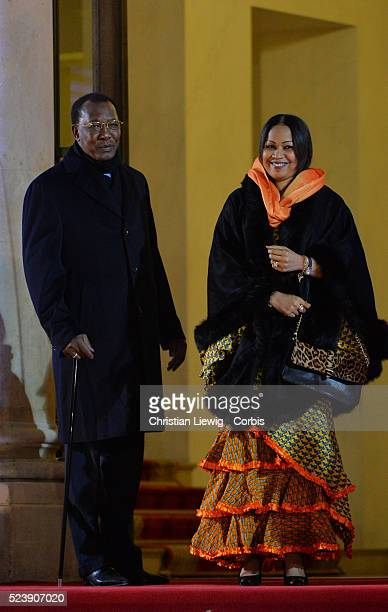 Chad's President Idriss Deby and his wife Hinda Deby arrive for a dinner with the French President as part of the Summit for Peace and Security in...