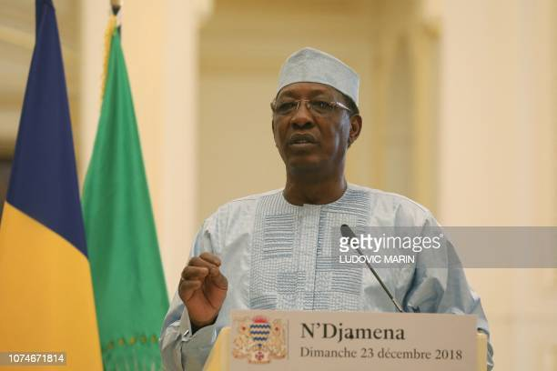 Chad's president Idriss Deby holds a press conference at the presidential palace in N'Djamena on December 23 2018 French president is on visit to...