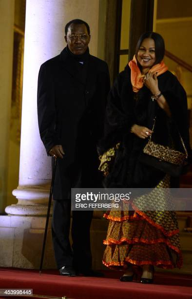 Chad's president Idriss Deby Itno and Chads first lady Amani Musa Hilal arrive for a dinner with the French President and other dignitaries as part...