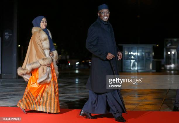 Chad's President Idriss Deby Itno and his wife arrive to attend a dinner hosted by French President Emmanuel Macron at the Orsay museum on November...