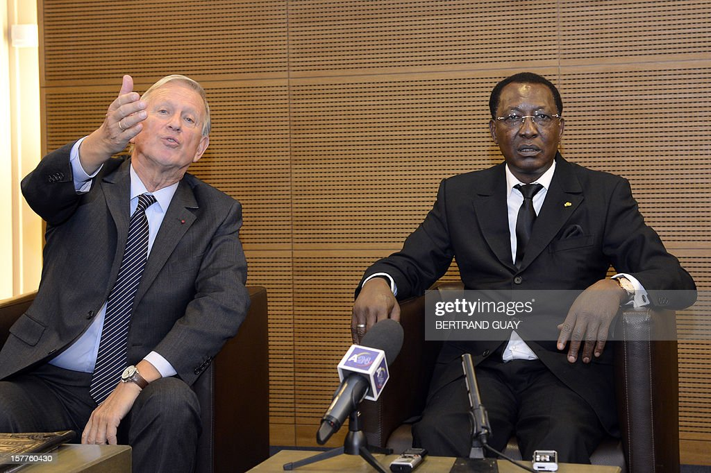 Chad's President Idriss Deby Itno (R) and Michel Roussin, Vice-President of France's largest employers' union Medef attend a joint press conference at the Medef headquarters in Paris on December 6, 2012. Deby Itno on December 5 denounced the confusion surrounding plans for a UN-backed military intervention to oust Islamists in control of northern Mali.