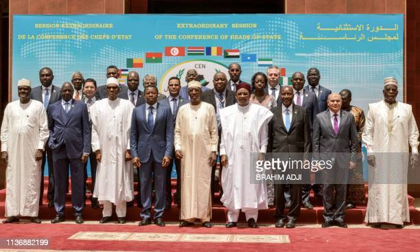 Chad's President Idriss Deby poses with fellow Heads of State at the opening of a summit of the Community of SahelSaharan States on April 13 2019 in...