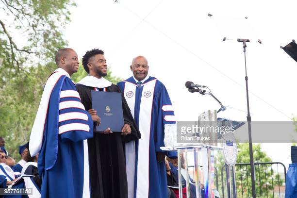 Chadwick Boseman a Howard alumnus receives an Honorary Doctorate Degree at the 2018 Howard University Commencement Ceremony at Howard University on...