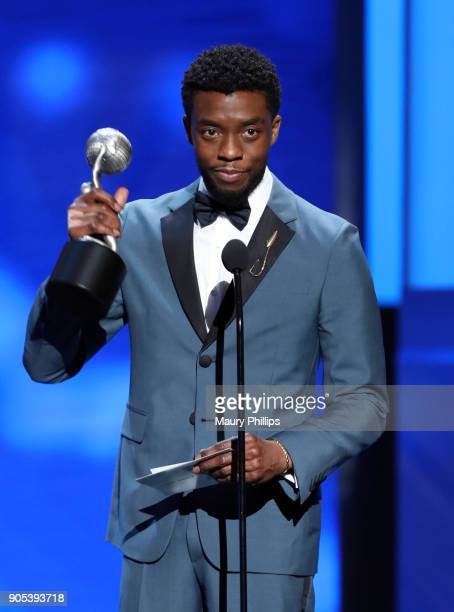 Chadwick Boseman accepts the Outstanding Actress in a Drama Series award on behalf of Taraji P Henson onstage during the 49th NAACP Image Awards at...
