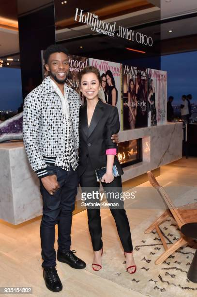Chadwick Boseman and Ashley Weston attend The Hollywood Reporter and Jimmy Choo Power Stylists Dinner on March 20 2018 in Los Angeles California