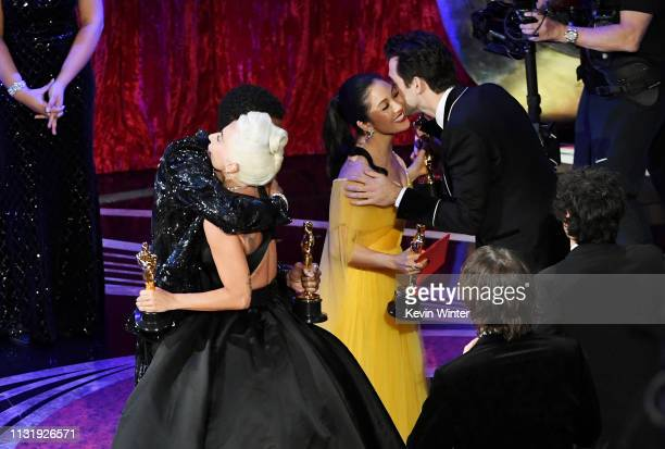 Chadwick Boseman and Constance Wu present the Music award for 'Shallow' from 'A Star Is Born' to Lady Gaga and Mark Ronson onstage during the 91st...