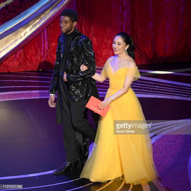 Retransmission with alternate crop Chadwick Boseman and Constance Wu walk onstage during the 91st Annual Academy Awards at Dolby Theatre on February...