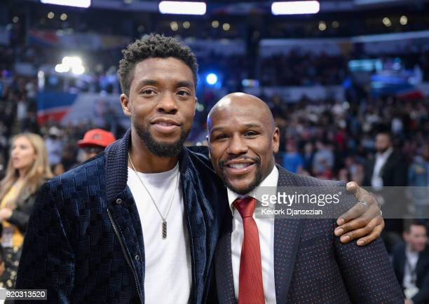 Chadwick Boseman and Floyd Mayweather attend the NBA AllStar Game 2018 at Staples Center on February 18 2018 in Los Angeles California