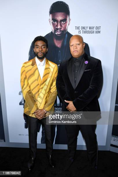 Chadwick Boseman and Logan Coles attend the 21 Bridges New York Screening at AMC Lincoln Square Theater on November 19 2019 in New York City