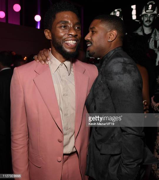 Chadwick Boseman and Michael B Jordan attend the 2019 Vanity Fair Oscar Party hosted by Radhika Jones at Wallis Annenberg Center for the Performing...