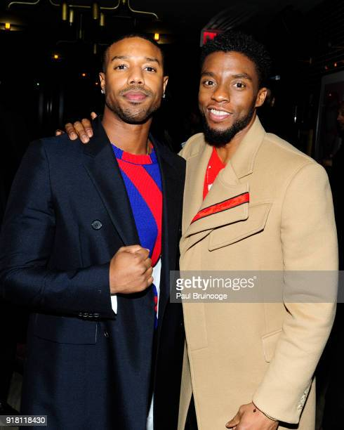 Chadwick Boseman and Michael B Jordan attend The Cinema Society with Ravage Wines Synchrony host the after party for Marvel Studios' 'Black Panther'...