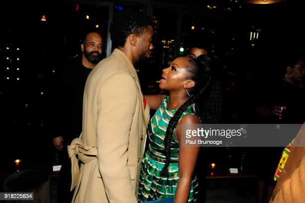 Chadwick Boseman and Naturi Naughton attend The Cinema Society with Ravage Wines Synchrony host the after party for Marvel Studios' 'Black Panther'...