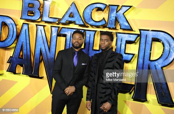 Chadwick Boseman and Ryan Coogler attend the European Premiere of 'Black Panther' at Eventim Apollo on February 8 2018 in London England