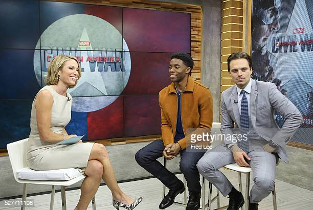 AMERICA Chadwick Boseman and Sebastian Stan are guests on Good Morning America 5/2/16 airing on the ABC Television Network AMY