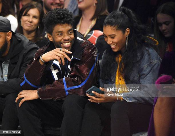 Chadwick Boseman and Taylor Simone Ledward attend the 69th NBA All-Star Game at United Center on February 16, 2020 in Chicago, Illinois.