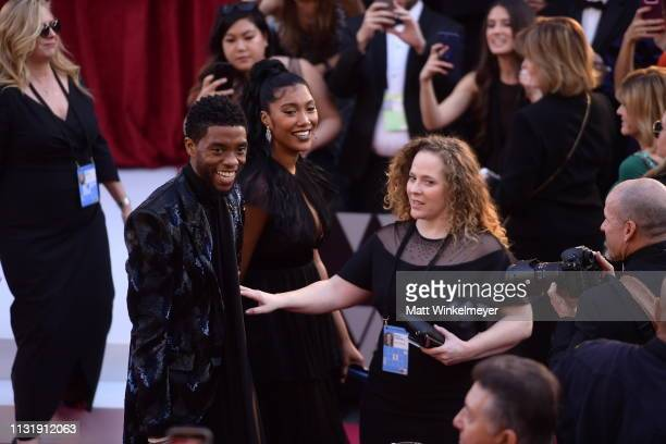 Chadwick Boseman and Taylor Simone Ledward attend the 91st Annual Academy Awards at Hollywood and Highland on February 24 2019 in Hollywood California