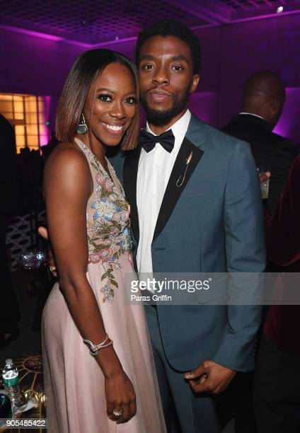Chadwick Boseman and Yvonne Orji attend 49th NAACP Image Awards After Party at Pasadena Civic Auditorium on January 15 2018 in Pasadena California