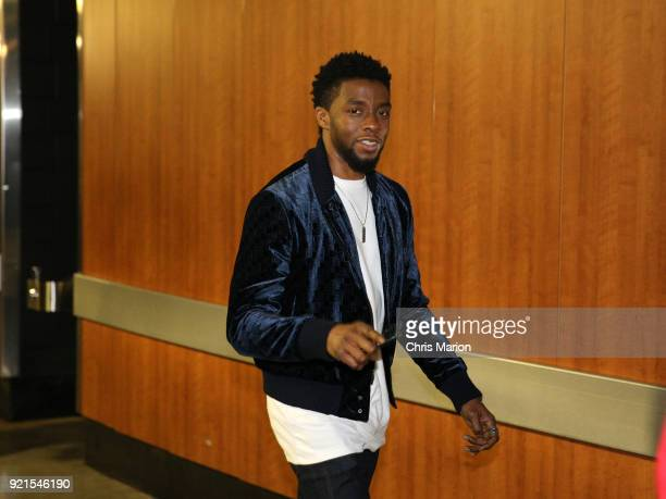Chadwick Boseman arrives to the arena during the NBA AllStar Game as a part of 2018 NBA AllStar Weekend at STAPLES Center on February 18 2018 in Los...