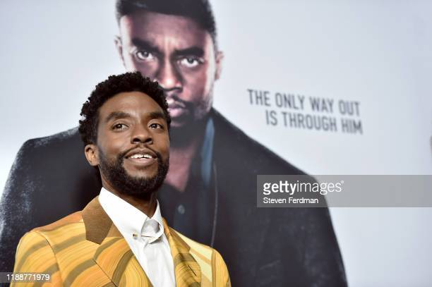 "Chadwick Boseman attends ""21 Bridges"" New York Screening at AMC Lincoln Square Theater on November 19, 2019 in New York City."