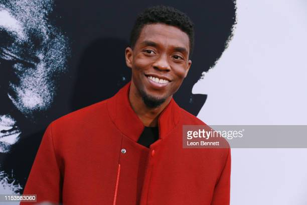 "Chadwick Boseman attends Premiere Of Netflix's ""The Black Godfather"" at Paramount Theater on the Paramount Studios lot on June 03, 2019 in Hollywood,..."