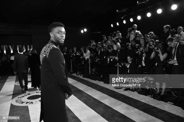 Chadwick Boseman attends the 2018 Vanity Fair Oscar Party hosted by Radhika Jones at Wallis Annenberg Center for the Performing Arts on March 4, 2018...