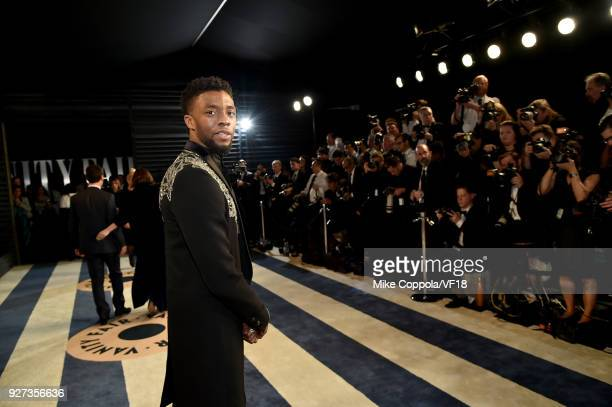 Chadwick Boseman attends the 2018 Vanity Fair Oscar Party hosted by Radhika Jones at Wallis Annenberg Center for the Performing Arts on March 4 2018...