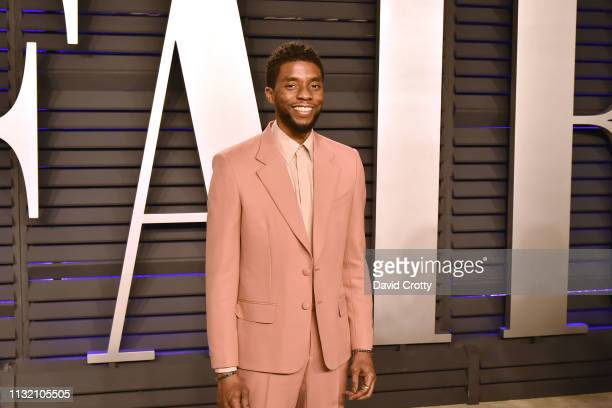 Chadwick Boseman attends the 2019 Vanity Fair Oscar Party at Wallis Annenberg Center for the Performing Arts on February 24 2019 in Beverly Hills...