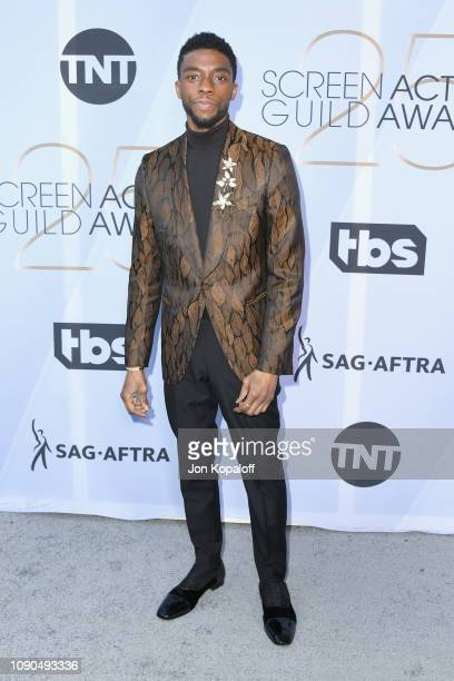 Chadwick Boseman attends the 25th Annual Screen Actors Guild Awards at The Shrine Auditorium on January 27 2019 in Los Angeles California