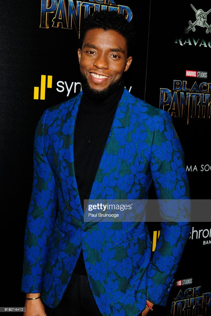 Chadwick Boseman attends The Cinema Society with Ravage Wines & Synchrony host a screening of Marvel Studios' 'Black Panther' at The Museum of Modern Art on February 13, 2018 in New York City.