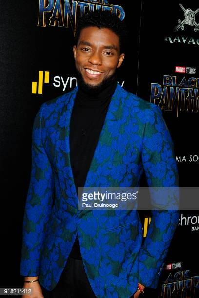 Chadwick Boseman attends The Cinema Society with Ravage Wines Synchrony host a screening of Marvel Studios' Black Panther at The Museum of Modern Art...