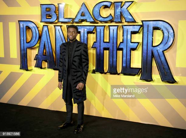 Chadwick Boseman attends the European Premiere of 'Black Panther' at Eventim Apollo on February 8 2018 in London England