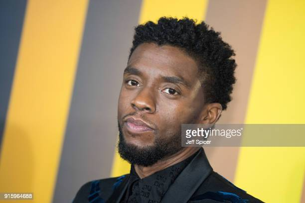 Chadwick Boseman attends the European Premiere of 'Black Panther' at Eventim Apollo on February 8, 2018 in London, England.