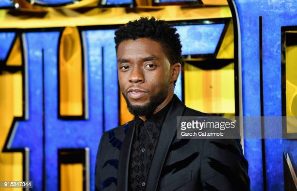Chadwick Boseman attends the European Premiere of Marvel Studios' Black Panther at the Eventim Apollo Hammersmith on February 8 2018 in London England