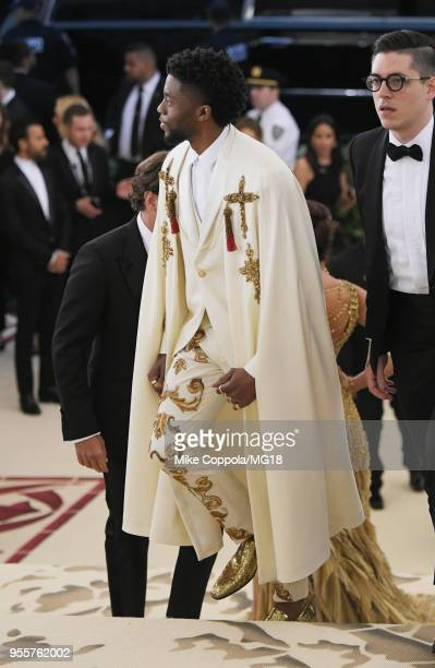 Chadwick Boseman attends the Heavenly Bodies Fashion The Catholic Imagination Costume Institute Gala at The Metropolitan Museum of Art on May 7 2018...