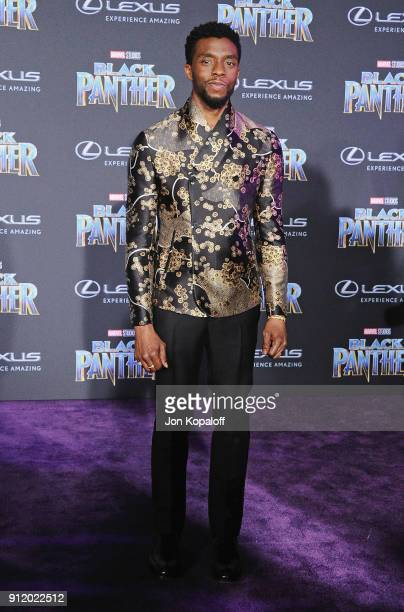 Chadwick Boseman attends the Los Angeles Premiere 'Black Panther' at Dolby Theatre on January 29 2018 in Hollywood California