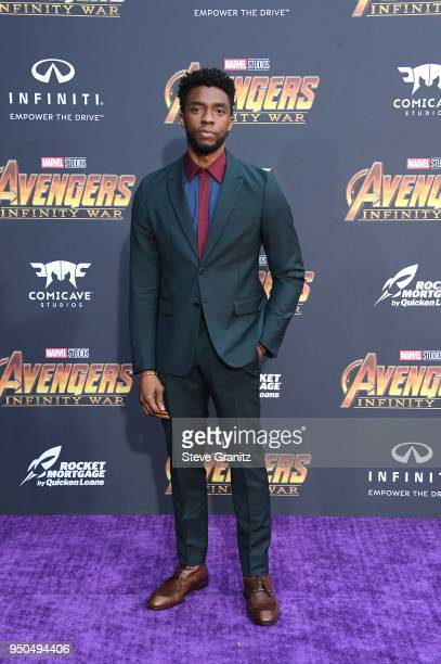Chadwick Boseman attends the premiere of Disney and Marvel's 'Avengers Infinity War' on April 23 2018 in Los Angeles California