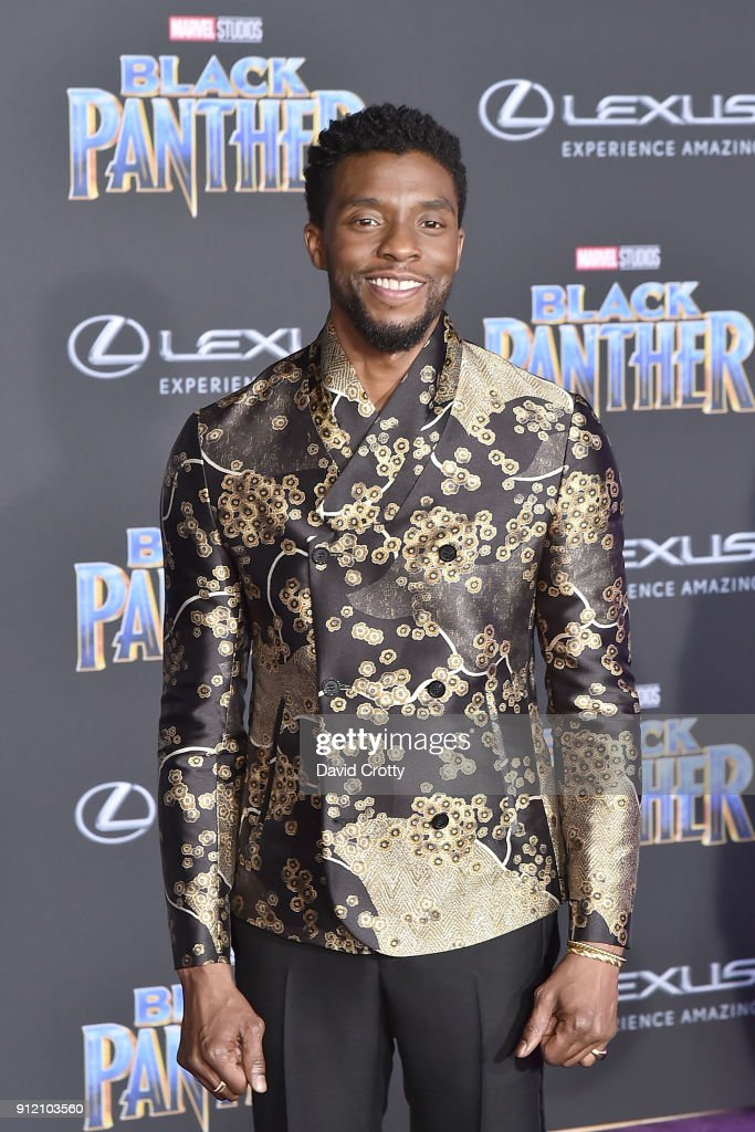Chadwick Boseman attends the Premiere Of Disney And Marvel's 'Black Panther' - Arrivals on January 29, 2018 in Hollywood, California.