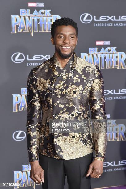Chadwick Boseman attends the Premiere Of Disney And Marvel's 'Black Panther' Arrivals on January 29 2018 in Hollywood California