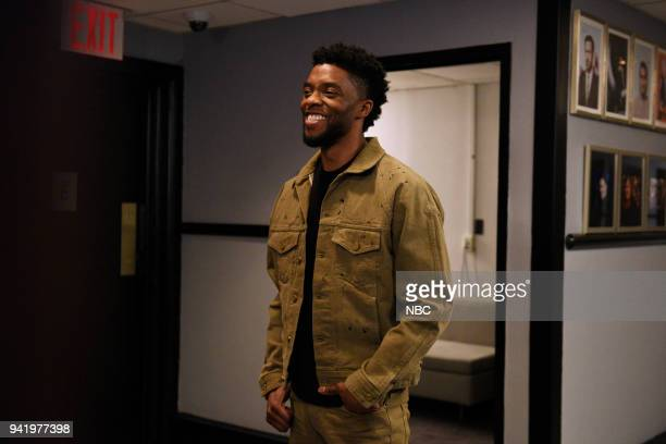 LIVE 'Chadwick Boseman' Episode 1742 Pictured Chadwick Boseman during a promo in 30 Rockefeller Plaza