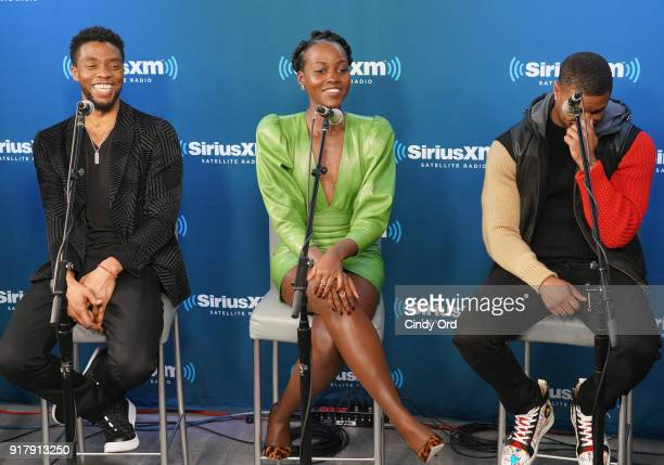 Chadwick Boseman Lupita Nyong'o and Michael B Jordan take part in SiriusXM's Town Hall with the cast of Black Panther hosted by SiriusXM's Sway...