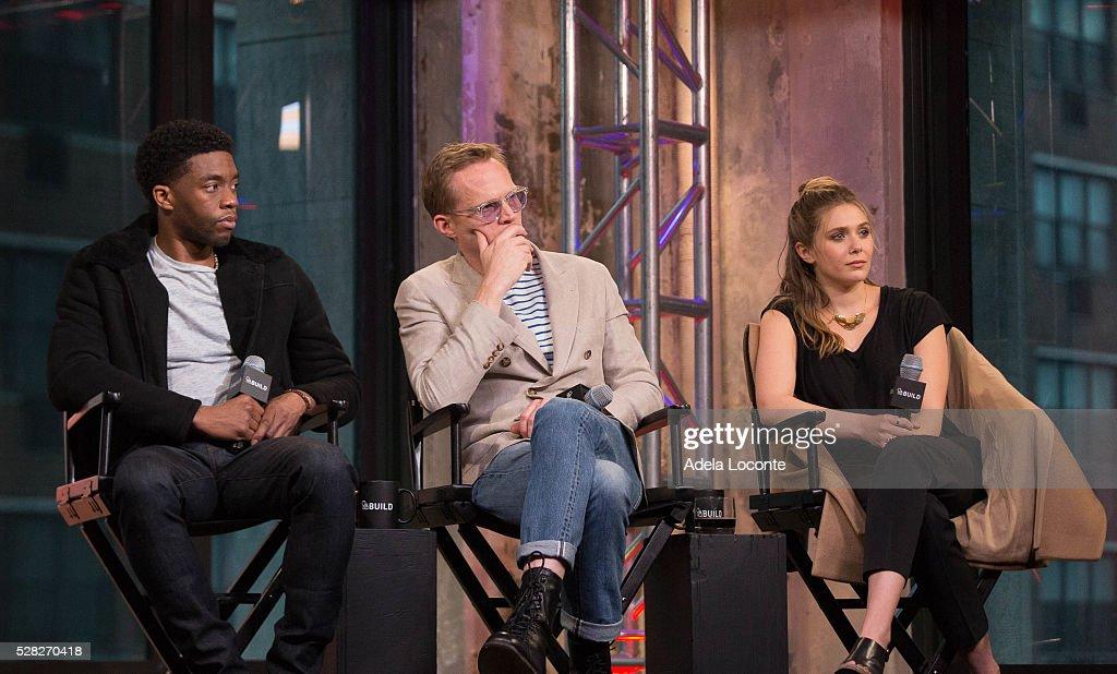 "AOL Build Speaker Series - Paul Bettany, Chadwick Boseman, Elizabeth Olsen, Anthony Russo and Joe Russo, ""Captain America: Civil War"" : News Photo"