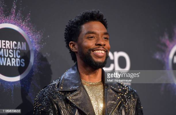 Chadwick Boseman poses in the press room during the 2019 American Music Awards at Microsoft Theater on November 24, 2019 in Los Angeles, California.