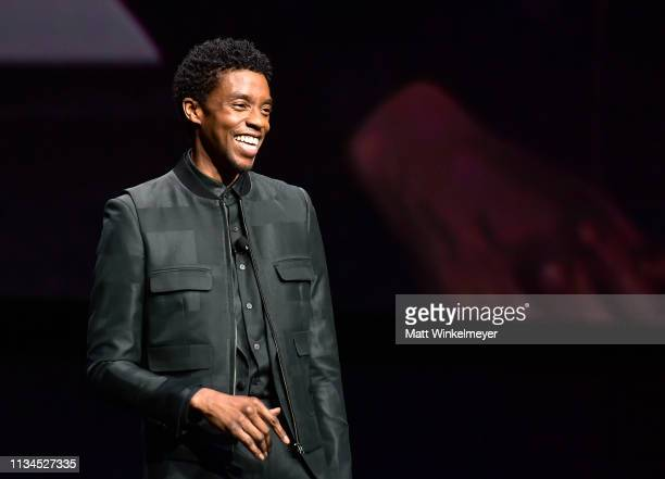Chadwick Boseman speaks onstage at CinemaCon 2019 The State of the Industry and STXfilms Presentation at The Colosseum at Caesars Palace during...