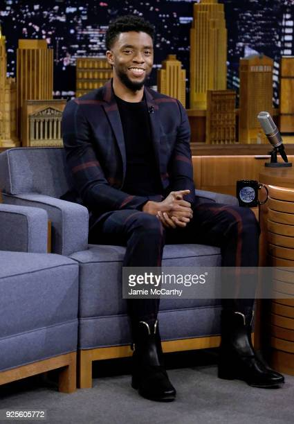 Chadwick Boseman visits 'The Tonight Show Starring Jimmy Fallon'at Rockefeller Center on February 28 2018 in New York City