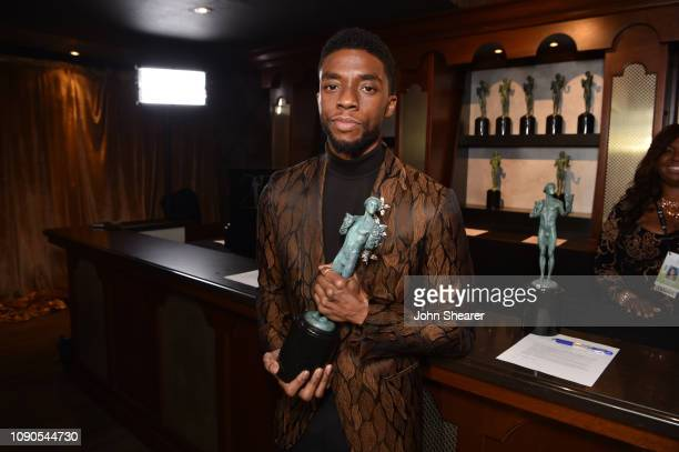 Chadwick Boseman winner of Outstanding Performance by a Cast in a Motion Picture for 'Black Panther' attends the 25th Annual Screen Actors Guild...