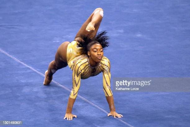 Chae Campbell of the UCLA Bruins competes on floor exercise during a meet against the BYU Cougars at Pauley Pavilion on February 10, 2021 in Los...
